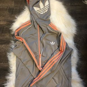 Adidas track jacket with logo on hood